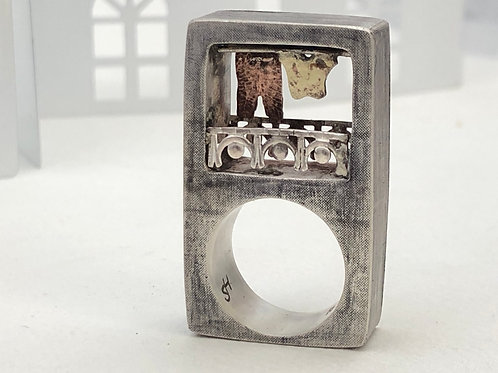 Bolcony ring, silver with brass shirt and copper pant