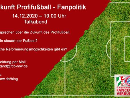 Zukunft Profifußball – Fanpolitik Talkabend mit einem Vertreter der Schickeria - 14.12.2020 – 19 Uhr