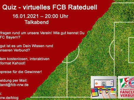 Quiz – virtuelles FCB Rateduell Talkabend 16.01.2021 – 20:00 Uhr
