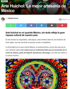 """""""Arte Huichol: La mejor artesanía de México"""" Por Zahilde Correa"""