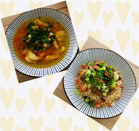 Naše vaření :). Polévka s pečenými kuřecími prsy a uzbecký plov. Takto například prezentujeme naše jídla každý den na sociálních sítích (facebook a instagram).