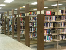 Photo of library book shelves