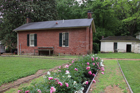 Photo of flower garden and living quarters