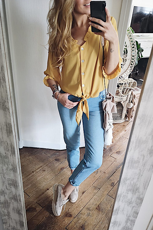 Blouse moutarde manches bouffantes S/M