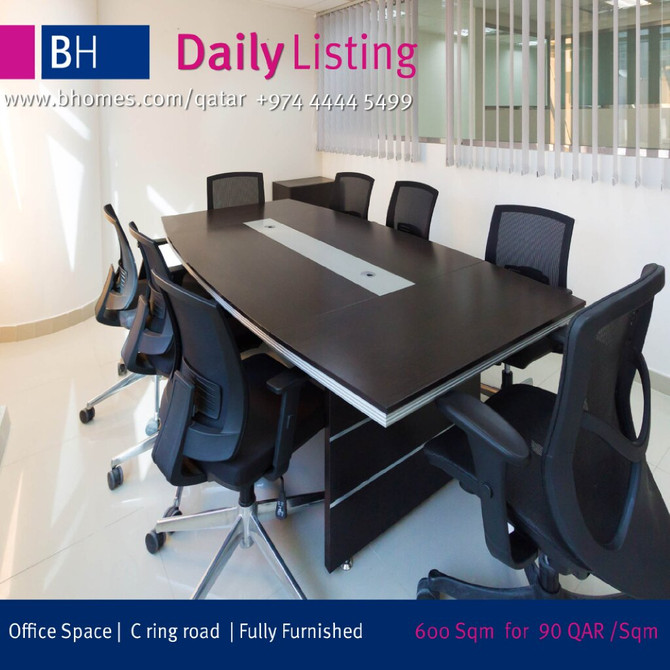 Spacious Fully Furnished Office Space for rent on C-Ring Road at the price of 90 Qar/Sqm Hurry!! Onl