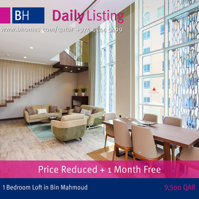 Loft Style Apartments for rent at Bin Mahmoud.1 Bedroom 9500 Qar with 1 Month free .Call 44445499
