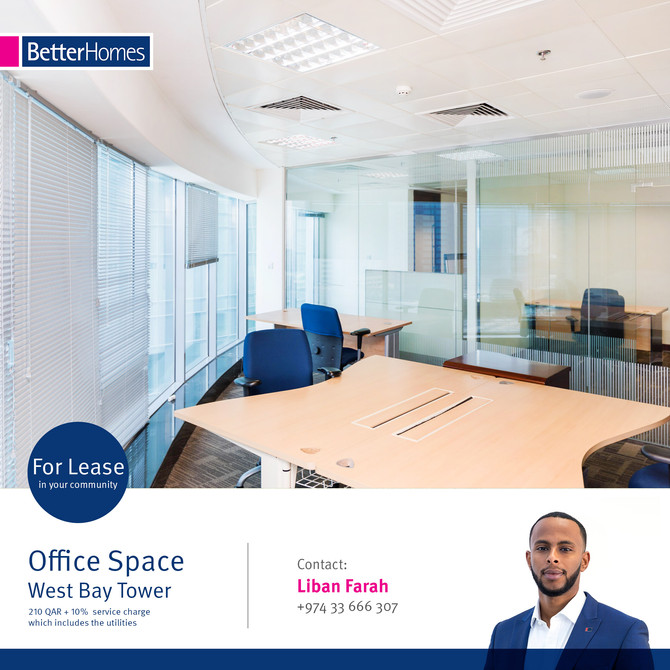 Find your perfect Office Space !! Office Space available for rent in West Bay Tower at 210 Qar/Sqm +