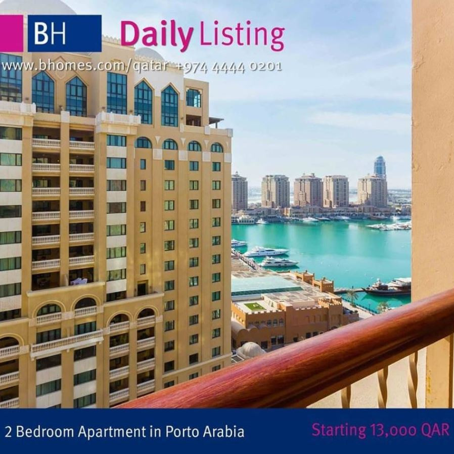 Stunning 2 Bedroom Apartment For Rent In Porto Arabia, The Pearl. The amenities include Gymnasium Swimming Pool for Adults & Kids, Kids Play Area ,Meeting / Activity Rooms, Concierge facility, 24-hour security & maintenance Hurry !! To Schedule a viewing call 44445499 or email to info@bhomesqatar.com