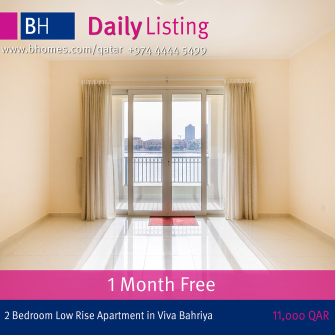 Stunning 2 bedroom semi furnished low rise apartment in Viva Bahriya available for rent at 11000 Qar