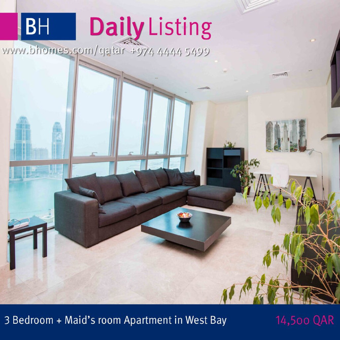Live in one of the Iconic Tower of Doha!! Fully furnished 3 Bedroom + Maids Apartment available for