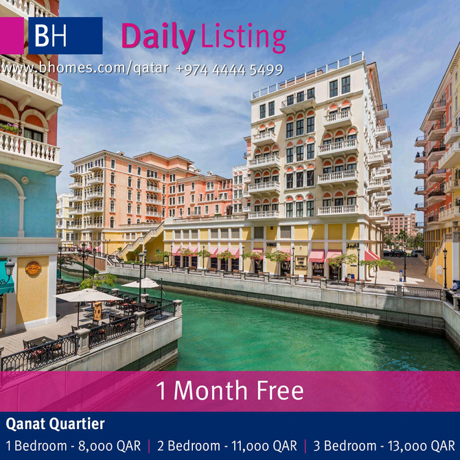 Beautiful Apartments for rent in Qanat Quartier at new reduced price. To Know more call 44445499 or