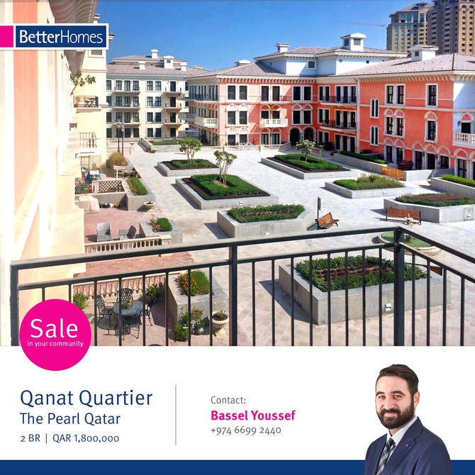BEAUTIFUL & LUXURIOUS 2 Bedroom Apartment for sale in Qanat Quartier,The Pearl . Contact 4444549