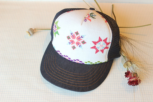 Rose Cross stitched Shirley Hat
