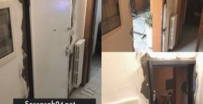 Furto dell'appartamento con la distruzione della porta blindata, il cliente è messo in sicurezza.
