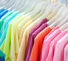color coded clothing on hangers