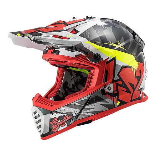 LS2 MX437J FAST MINI EVO - CRUSHER BLACK/GREY/RED