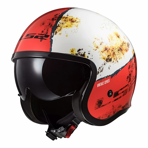 LS2 OF599 SPITFIRE HELMET - RUST RED/WHITE