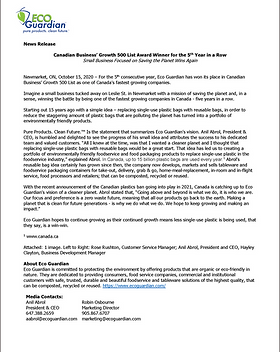 Canadian Business Growth 500 List Award