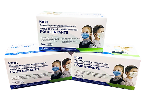 3-ply Children's Protective Disposable Face Mask. Box of 50.