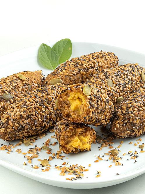 Quibe Funcional com Mix de Sementes e Cheddar Vegano