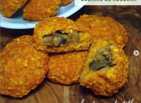 Receita Vegana: Bolinho de Abóbora recheado com lentilha e cogumelo