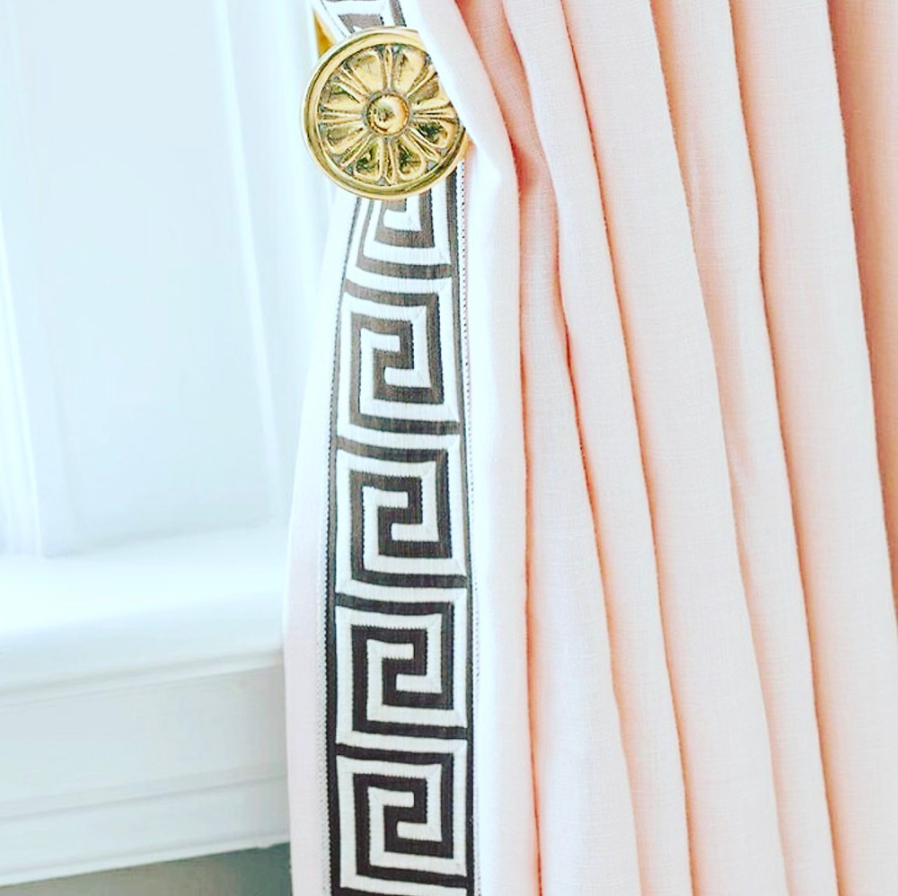 blush patterned curtain