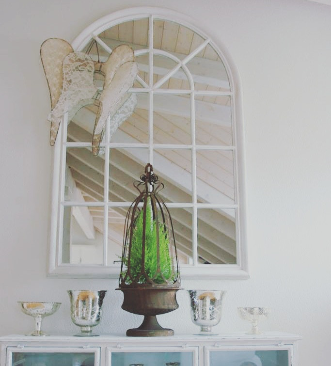 White Framed & Arched Mirror