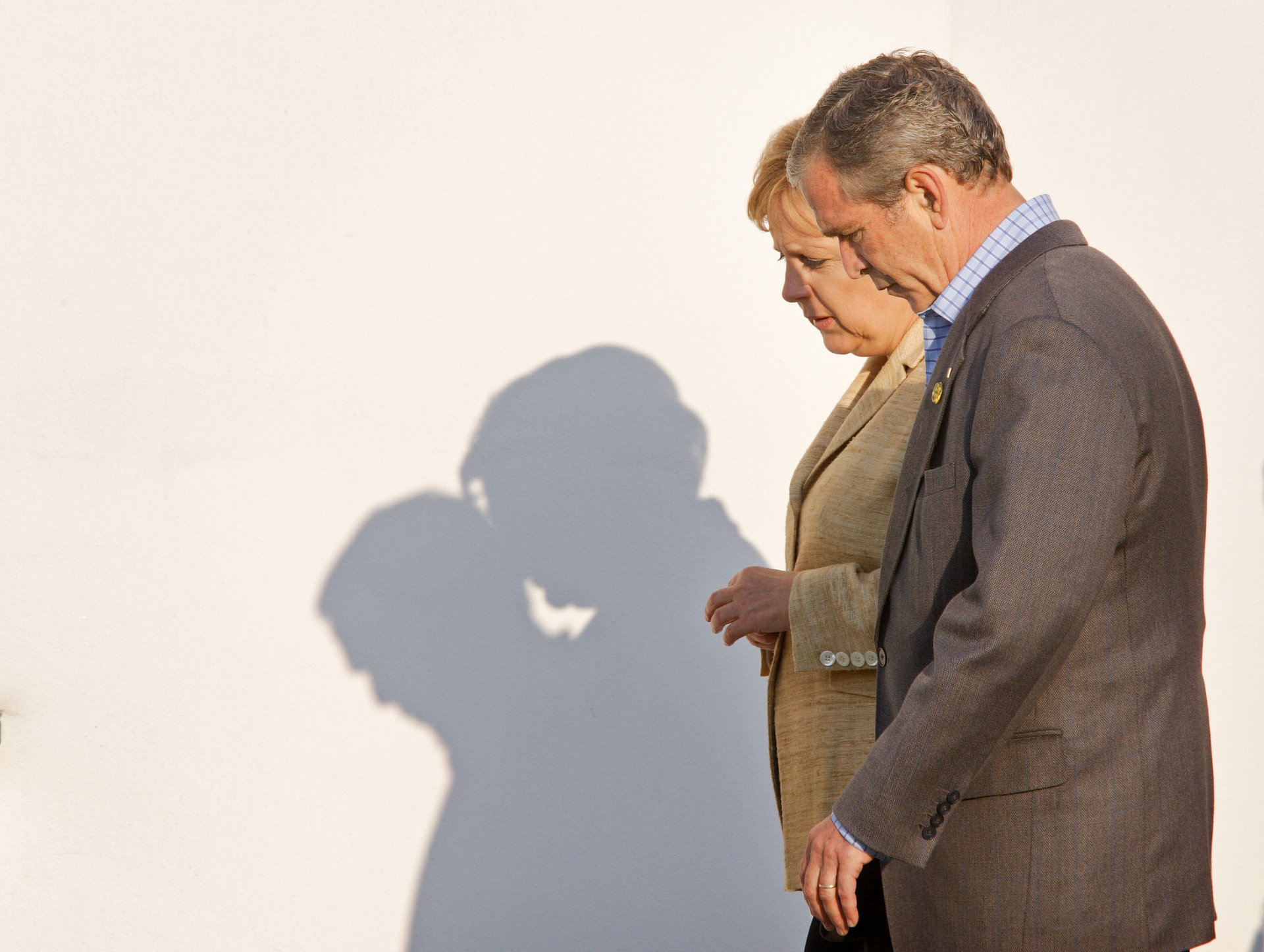 Angela Merkel and George W. Bush