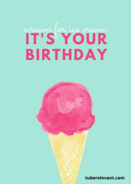 Green and Pink Ice Cream Happy Birthday