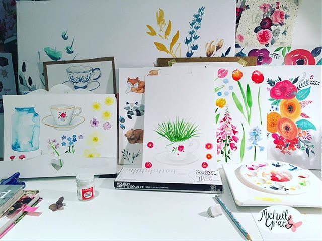 Lots of painting work today with #spring and #autumn themes_._._
