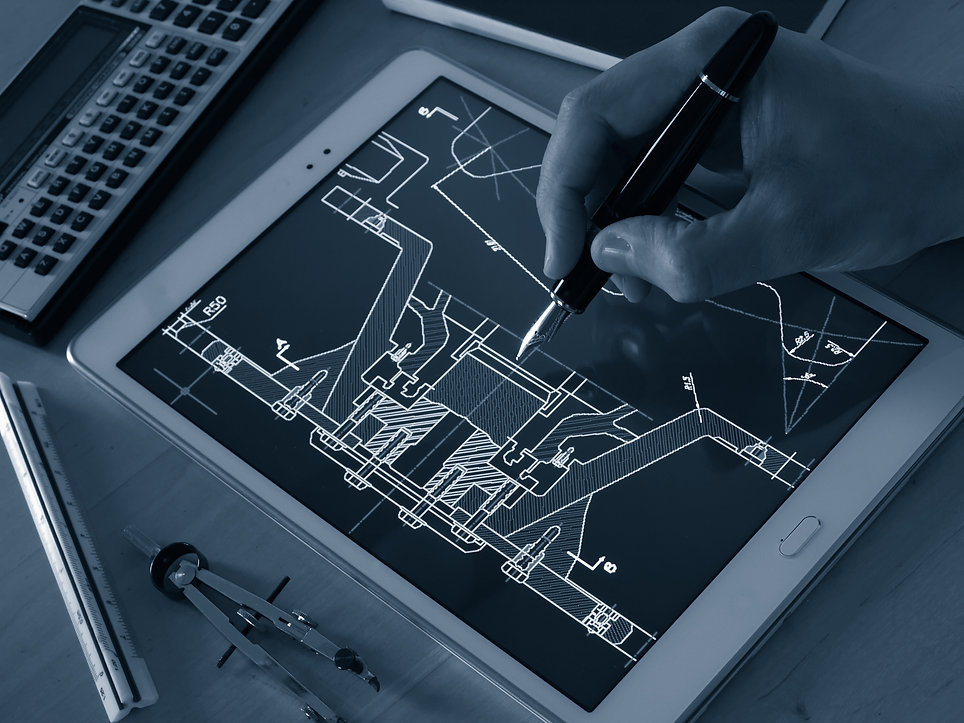 engineer designer working on cad bluepri