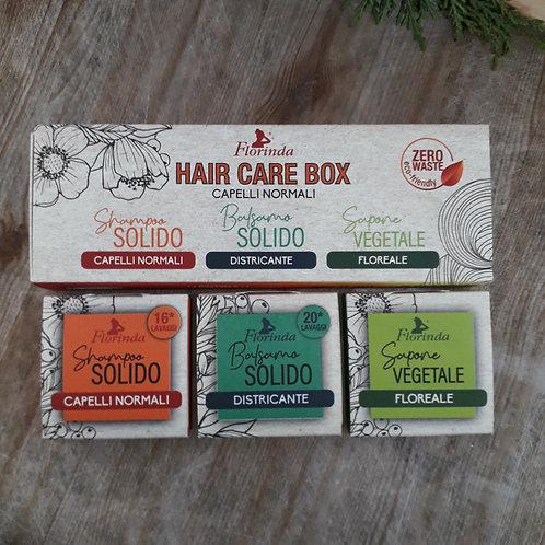 HAIR CARE BOX cosmetici solidi per cura capelli normali