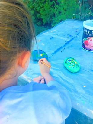 Painting rock for rock garden