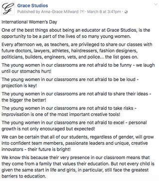 Celebrating International Women's Day - Find us on Facebook: @gracestudiosdrama