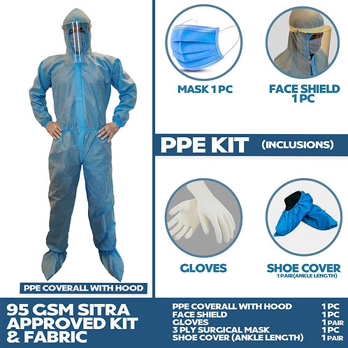 VOUCH SITRA & CE Certified PPE KIT with Full Body Coverall, Latex Gloves, Shoe C