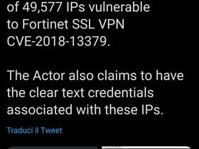 VPN Fortinet violata e dati sulle datknet di PCM, Roma Capitale, e altre istituzioni italiane.