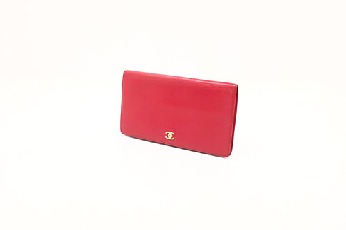 Chanel long wallet in red