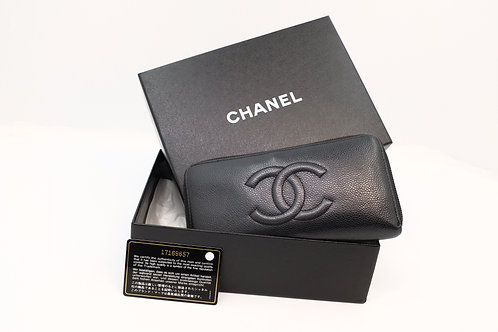 Chanel Timeless Caviar long zip wallet