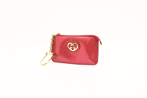 Gucci Coin Key Case in Red Metallic Leather