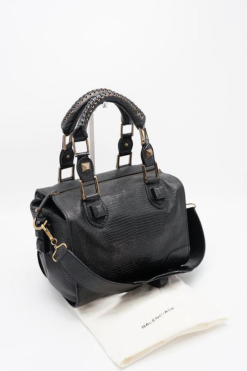 Balenciaga Black Lizard Embossed Leather Box Bag