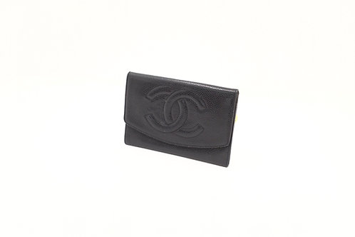 Chanel button snap compact wallet cavair