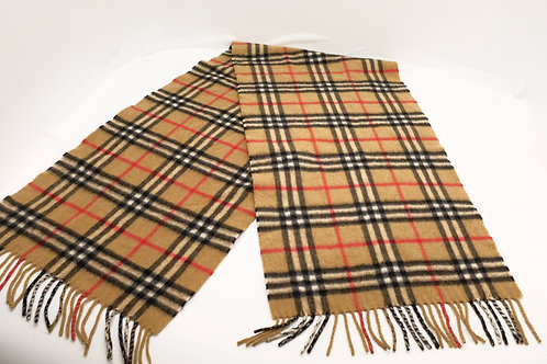 Burberry Mini Classic Check Cashmere Scarf in Beige
