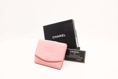 Chanel Compact Wallet in Pink Caviar Leather