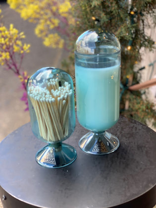 Skeem Aqua Blue Mouth Blown Glass Match Holder and Candle Cloche    ndle