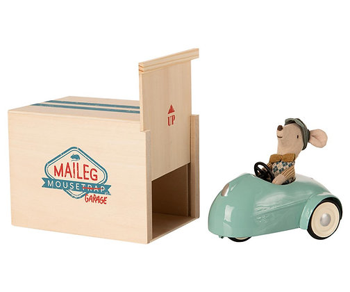 Maileg Mouse, Blue Car and Garage