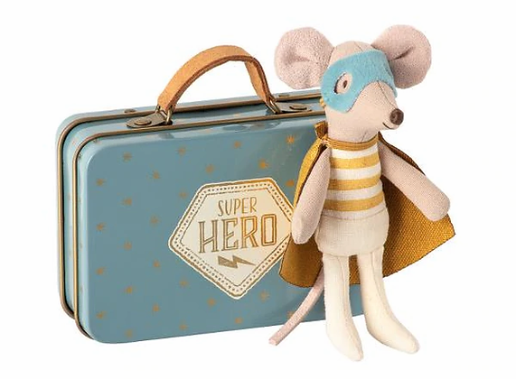 Maileg Super Hero Little Mouse in Suitcase