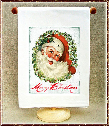 Merry Christmas Santa Tea Towel