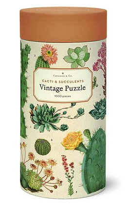 Vintage Cacti and Succulents 1000 Piece Jigsaw Puzzle