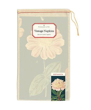 Vintage Botanical 100% Cotton Napkins Set of 4