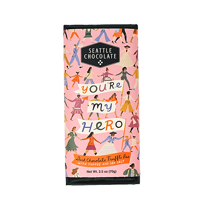 """""""You're My Hero"""" Truffle Bar with Toffee and Sea Salt"""